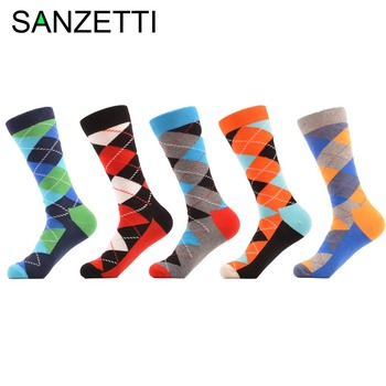 SANZETTI 5 pair/lot Men's Colorful Funny Argyle Combed Cotton Socks Bright Men Long Crew Dress Socks US Size 7.5-12