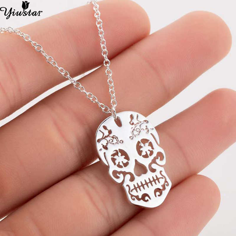 Yiustar Collares Women Men Punk Skull Necklace Girls Stainless Steel Pendants Necklaces Day Of The Dead Jewelry Mexican collier