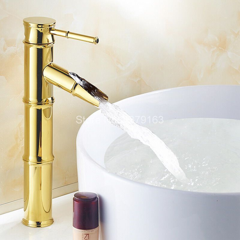Polished Gold Color Brass Bamboo Style Single Handle Lever Bathroom Vessel Sink Basin Faucet Mixer Waterfall Water Tap agf004Polished Gold Color Brass Bamboo Style Single Handle Lever Bathroom Vessel Sink Basin Faucet Mixer Waterfall Water Tap agf004