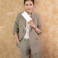 Office Lady Pant suits 2018 autumn new women suits Pants suit sets with the same paragraph double breasted Blazer+pants two sets