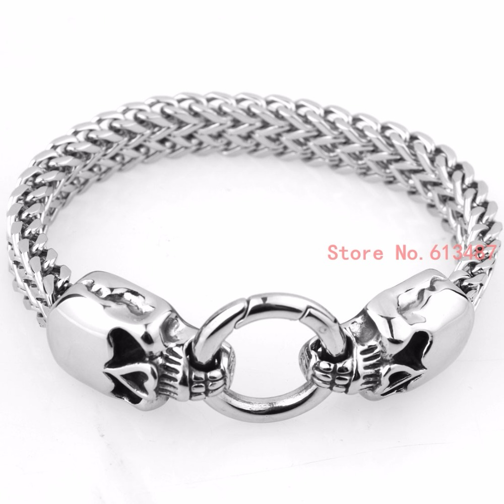 Gothic Punk Skull Bracelet 316L Stainless Steel Bracelet Silver Bangle Jewelry For Men & Women Gifts 9