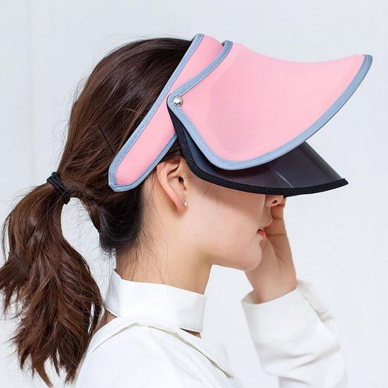 2017 Nuevo doble sombreros visera del verano femenino Sol vacío tapa  superior sólido unisex UV Sol mujer sombrero de playa en Sombreros de sol  de Accesorios ... 51d694feb3c