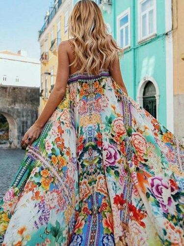 Mulheres BOHO Vestido Moda Casual Vestido de Verão Sem Mangas Floral Slit Longo Partido Prom Vestido Maxi Praia Verão Mulheres Roupas Beleza