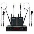 FREEBOSS FB-U02B UHF Профессиональные Микрофоны 2 Bodypacks + 2 Laples + 2 Гитара кабели Караоке Беспроводной Петличный Система