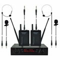 FREEBOSS FB-U02B UHF Professional Microphones 2 Bodypacks + 2 Laples + 2 Guitar cabels Karaoke Wireless Lapel Microphone System