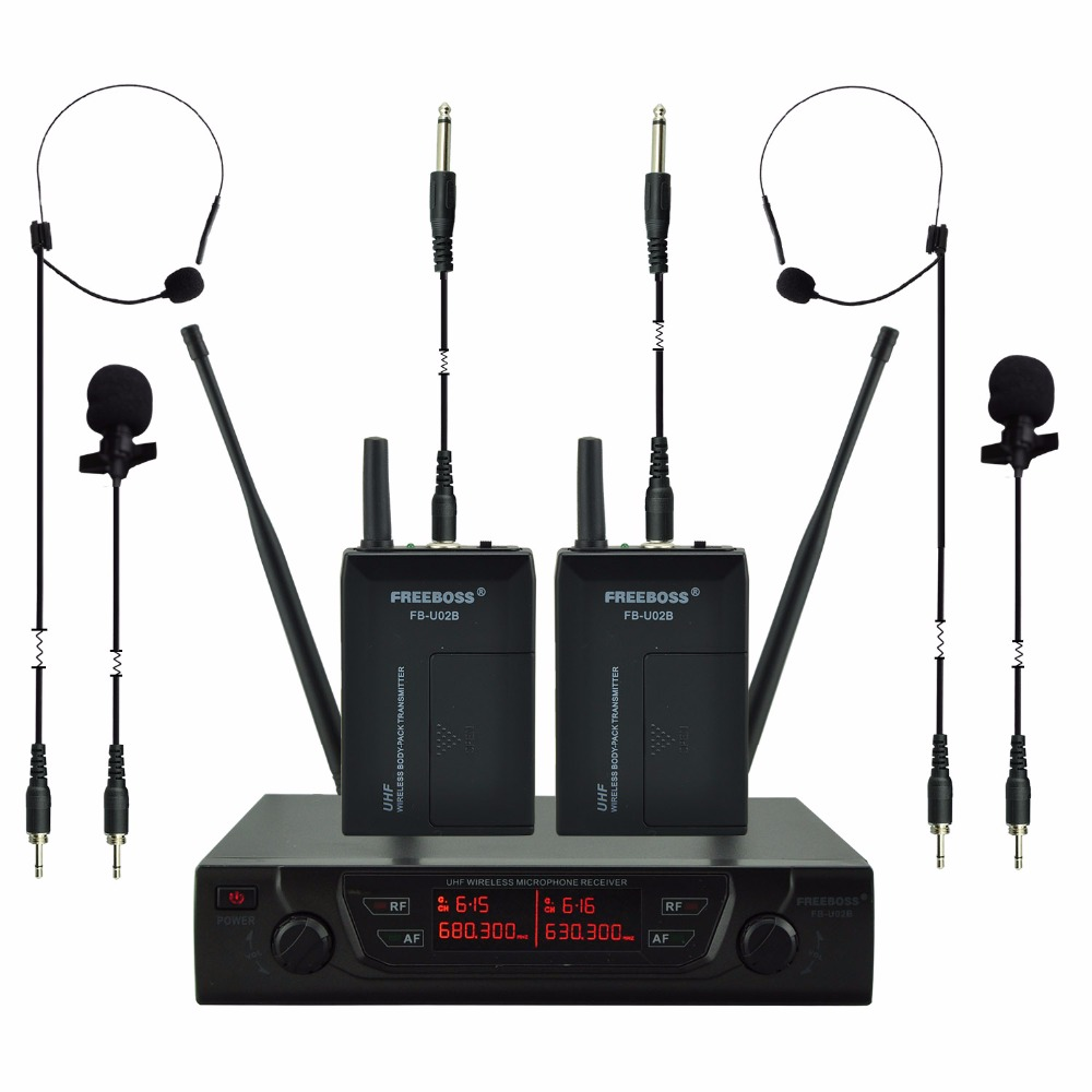 FREEBOSS FB-U02B UHF Professional Microphones 2 Bodypacks + 2 Laples + 2 Guitar cables Karaoke Wireless Lapel Microphone System professional lapel music instrument microfone double bass microphone lapeal for shure wireless system xlr mini microphones