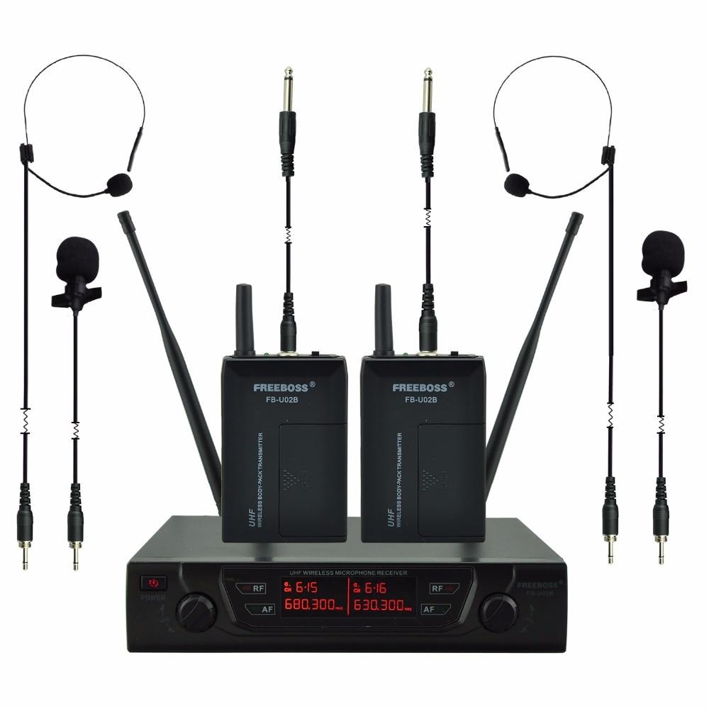 FREEBOSS FB-U02B UHF Microphones Professionnels 2 Bodypacks + 2 Laples + 2 Guitare câbles Karaoké Sans Fil Micro-Cravate Système