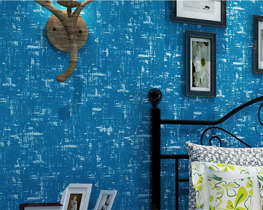 Beibehang Retro Plain Colorful Mediterranean Nonwovens 3D Wallpaper Thicker Living Room Bedroom wallpaper for walls 3 d behang beibehang nonwovens healthy fashion