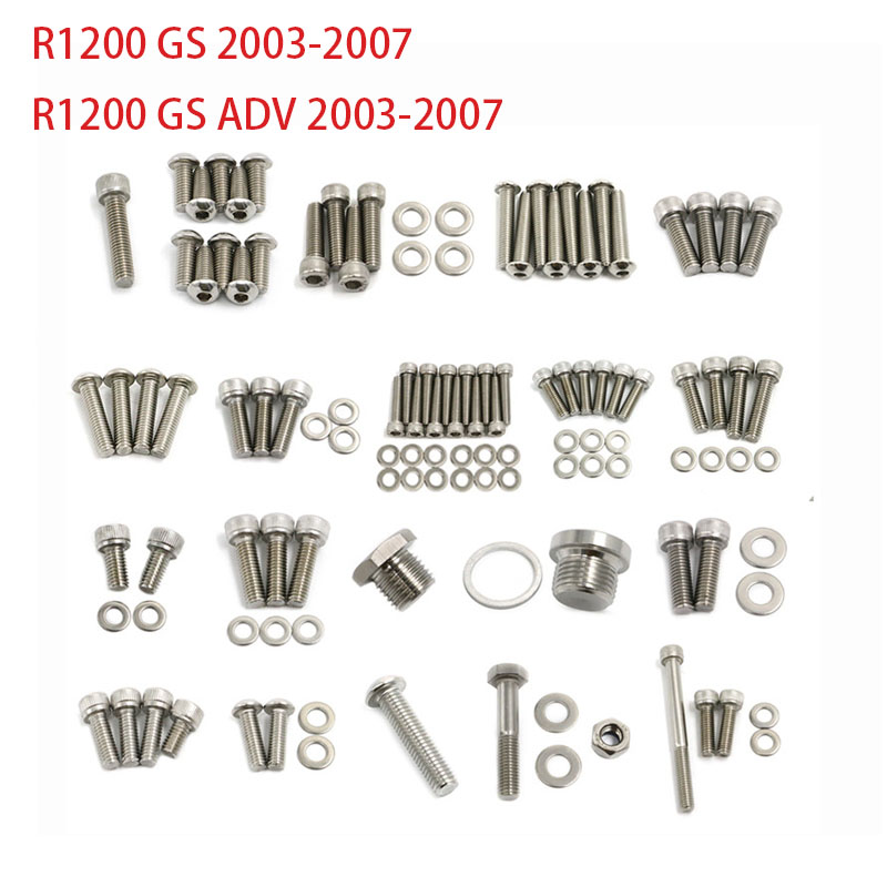 Motorcycle Fairing Body Bolts Stainless Steel Fastener Screws Nuts For <font><b>BMW</b></font> R1200GS <font><b>R1200</b></font> ADV <font><b>GS</b></font> Adventure 2003 - <font><b>2007</b></font> image