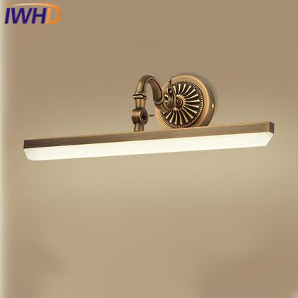 IWHD American Country Led Bathroom Light 9W Copper LED Wall Lamp Adjustable Mirror Light Fixtures For Home Lighting Bathroom