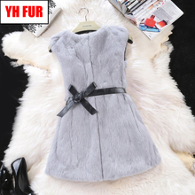 2019 Hot Women Real Rabbit Fur Vest Long Style Genuine Real Rabbit Fur Gilet Full Pelt 100 Natural Rabbit Fur Sleeveless Coat cheap Double-faced Fur Real Fur YH-FUR-51562 STANDARD REGULAR O-Neck Covered Button Solid Casual Slim 100 real rabbit fur