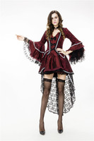 Halloween Women Vampire Costumes Cosplay Gothic Vampire Outfit The Queen Vampire Skeleton Costume Role Play Clothing