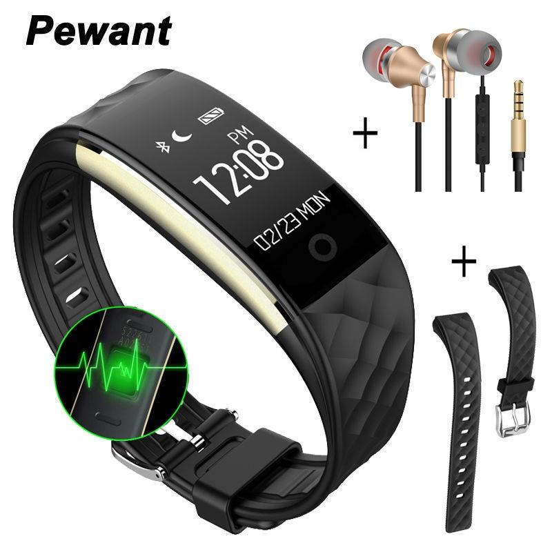 imágenes para Pewant s2 inteligente pulsera banda de pulsera con bluetooth frecuencia cardíaca smartband para iphone xiaomi huawei pk id107 pulsera inteligente