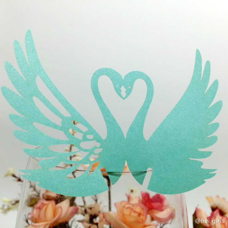 100pcs/set Hollow Swan Wedding Invitations Cup Cards Seat Card Wedding Decoration Supplies For Business/Party/Birthday 5Z pink swan 100