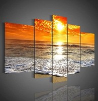 FREE SHIPPING Famous Fabric Group Sunset Painting of 5 panels(Unframed)40x60cmx2pcs+30x80cmx2pcs+30x100cmx1pc