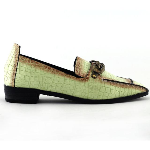 QT678G3 Fresco Rojo/Cadena de Bronce Verde Dedo Del Pie Cuadrado de Tacón Bajo Casual Shoes EE.UU. Tamaño 4 5 6 7 8