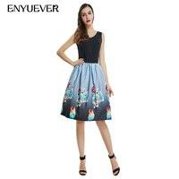 Enyuever Vestido Casual Dress Plus Size 2018 Music Note Violin Print Vintage Jurk Festival Pin Up Swing Robe Rockabilly Dress