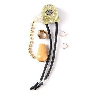 Image 2 - Interrupteur pour chaîne suspendue, métal, bois, 3a, avec fermeture éclair, or/Chrome, 250V, lumière à assembler soi même, accessoires muraux, de Table ou du sol