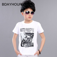 Special Off Cool Summer Soft Breathable Cartoon Print Short Sleeve Round Neck Cotton Casual Boys T-Shirts 12 Colors