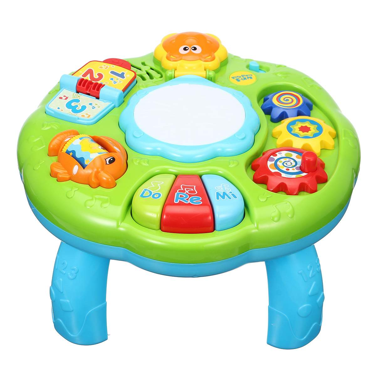 Musical Piano Pat Drum Baby Activity Learning Table Music Drum Games Table Infant Baby Early Educational Toy Gifts 2 Colors