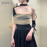 SISPELL Summer Halter Off Shoulder Backless Women T Shirt Mesh Patchwork Sexy Slim Bandage Clothing Top Female Fashion New 2019