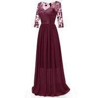 Dropship!Autumn Women Dress Formal Long Lace Chiffon Half Sleeve Prom Party elegant Gown vadim vestidos verano #F