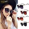 Fashion Round Oversized Cat Eye Sunglasses Women Metal Vintage Gold Frames New 2016 Sunglasses Uv400 Sun Glasses Wholesale Alloy