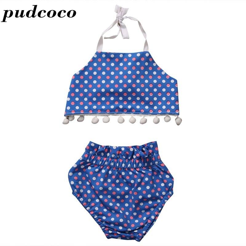 2017 Summer Newborn Infant Baby Girl Blue Dot Tassel Tank Tops+Shorts Briefs 2pcs Outfits Clothes Set