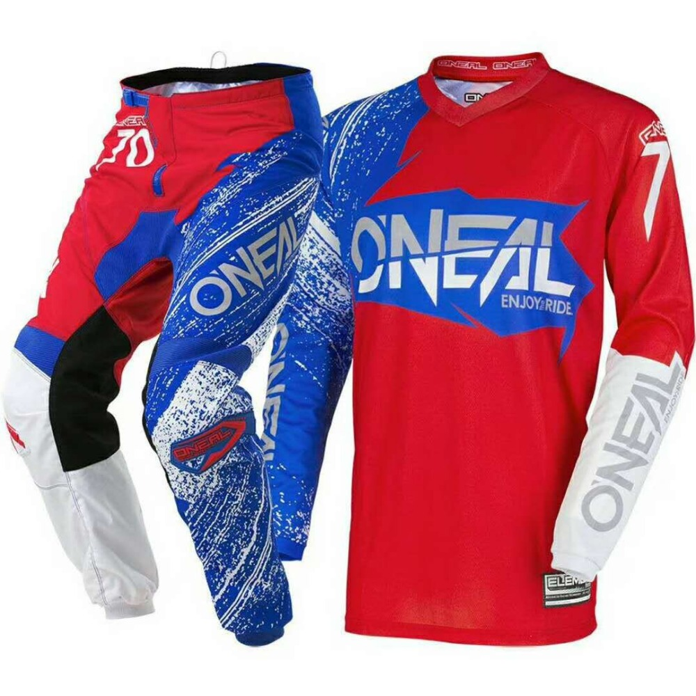 2018 New Fit For oneal Motocross Suit Motobiker Racing Riding Jersey + Pants Motorcycle MX ATV Dirt Bike sets Clothes RED BLUE t
