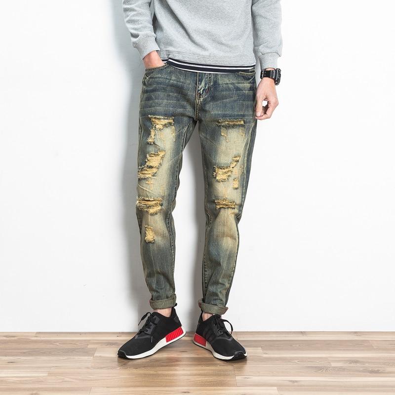 ФОТО Classic Retro Blue Jeans Men Knee Hole Fashion Ripped Jeans For Men Hip Hop Street Cargo Denim Pants Slim Mens Biker Jeans Male