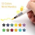 Высокое качество 12 цветов художественный маркер чернила Стеллы Кисть Блеск маркеры Кисть ручка для блестящего блеска для надписи штамповк...