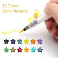 Alta Qualidade Cores Marcador Arte 12 Piscadela de Stella Escova Brilho Marcadores Pen Escova Para Brilhar brilho Para Lettering Estampagem projeto