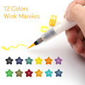 Marcador de Arte de 12 Colores de alta calidad, guiño, pincel con brillo, pinceles, pinceles proyecto