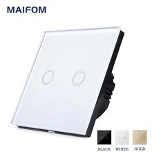 MAIFOM EU/UK Universal Touch Sensor Switch, 110-220V, Crystal Glass Panel 2 Gang 1 Way Waterproof Wall Light Switch