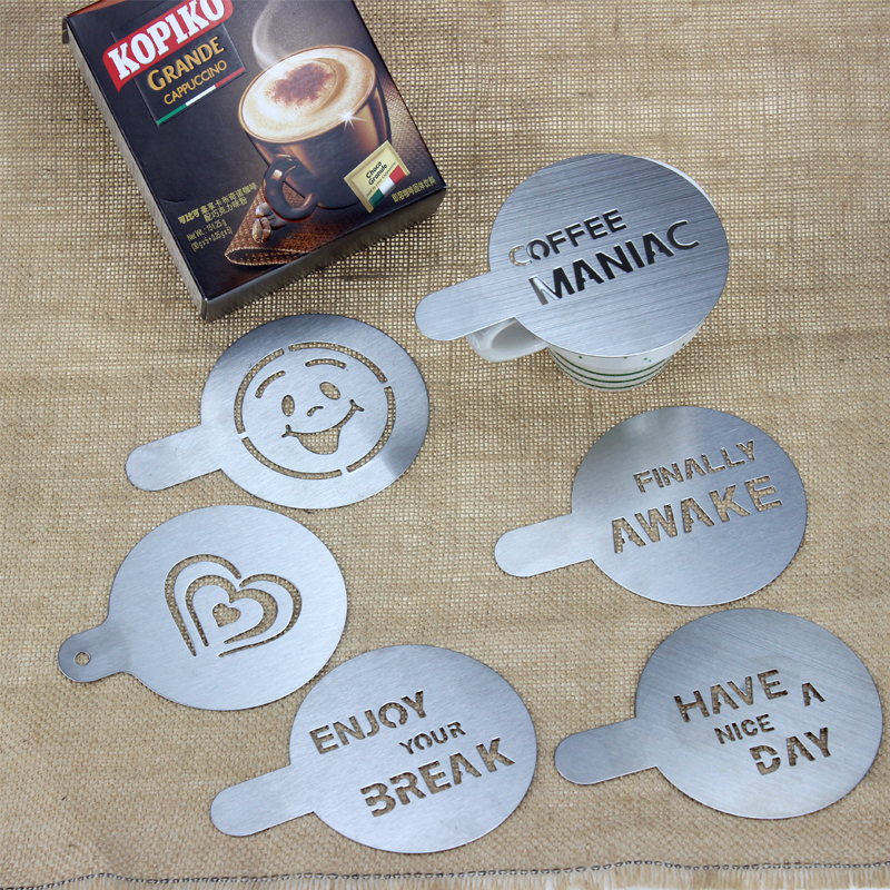 HADELI 6pcs/lot Stainless Steel Metal Chocolate DIY Coffee Latte Art Mould Cappuccino Coffee Stencils Barista Coffee Tools 100mm