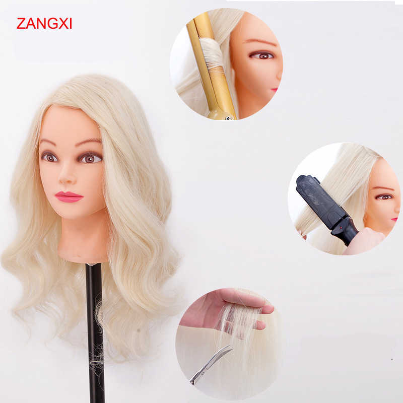 "22"" Blonde Hair Maniquin Head Professional Training Head With 70% Human Hair Practise Hairstyle Nice Hairdressing Head Mannequin"