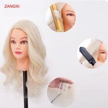 манекен голова 22 «блондинка волосы  Professional голова для причесок 70% человеческих волос практика прическа хороший Парикмахерские маникен головы с волосами