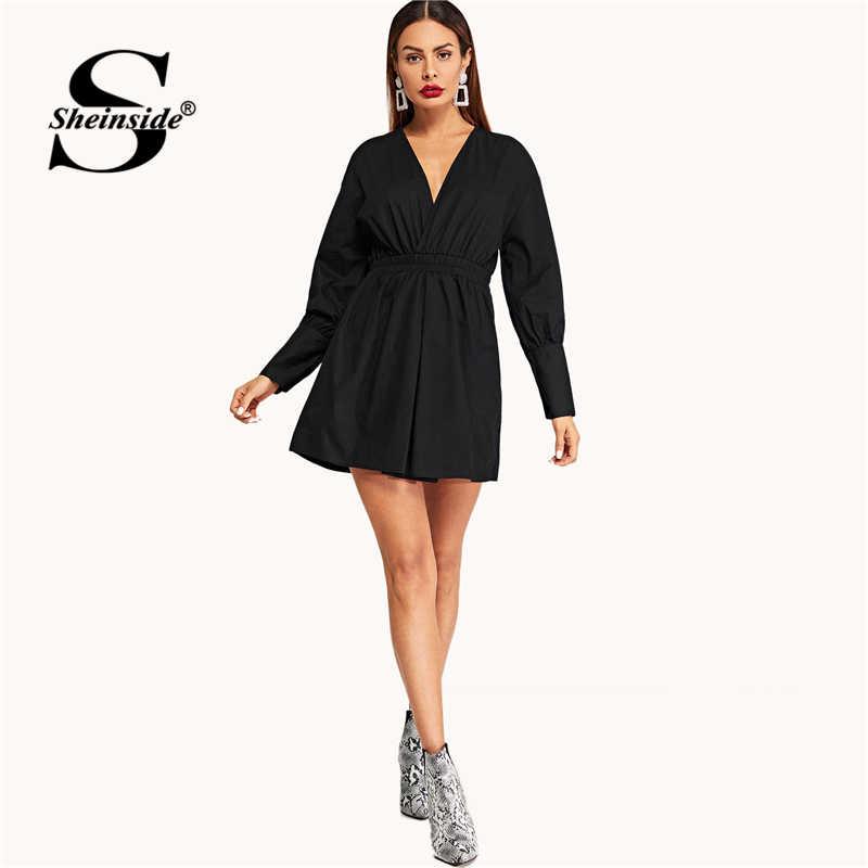 Sheinside, черное платье с v-образным вырезом и присборенными рукавами, женское элегантное короткое платье для вечеринок, лето-осень 2019, мини-платье трапециевидной формы