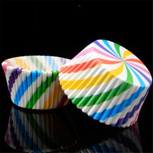 100 pcs Colorful Cupcake Liner Paper Baking Cup Muffin Cases Cake Mold Small box Tray Decorating Tools