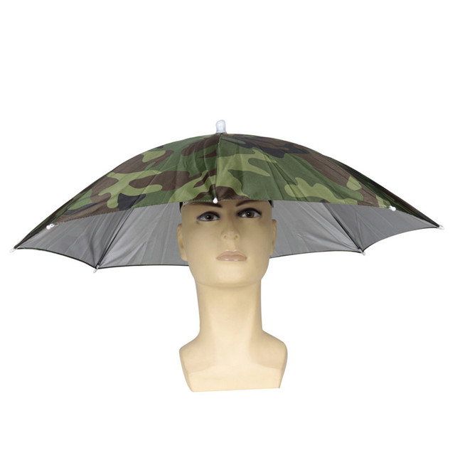 3087f0a4658 1Pc Camouflage Foldable Headwear Sun Umbrella Fishing Hiking Beach Camping  Headwear Cap Head Hats Outdoor Sport