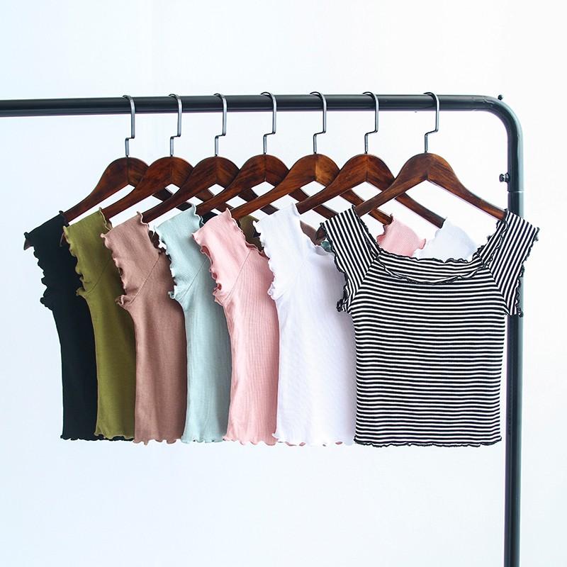 HTB1BE9pOVXXXXc6XFXXq6xXFXXXM - Striped Knitted Off Shoulder Slash Neck Short Sleeve T Shirt PTC 27