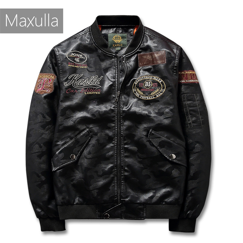 Maxulla Spring PU Leather MA1 Jacket Mens Casual Faux Leather Coats Male Motor Jacket PU Leather  Jackets Big Size Mla047