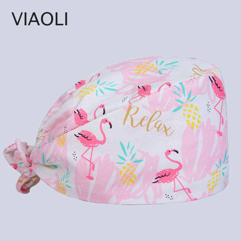 Viaoli New Cotton Scrub Caps For Women And Men Hospital Medical Hats Printing Tieback Elastic Section Surgical Caps
