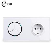 Coswallホワイトクリスタルガラスパネル 16A euロシア標準壁電源ソケット + 3 ギャング 1 ウェイのon/off ledインジケータ