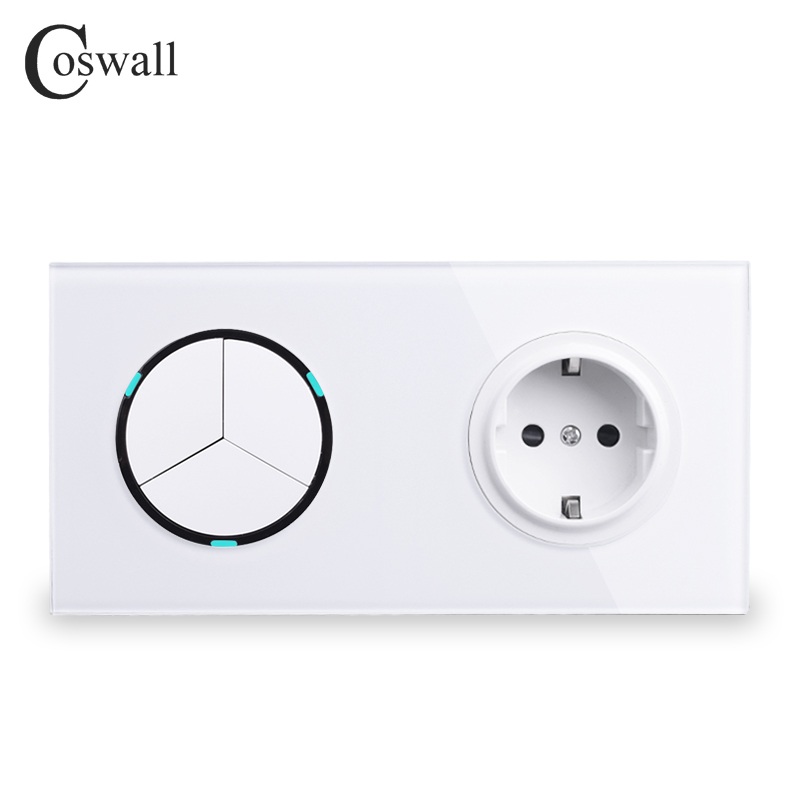 Coswall White Crystal Glass Panel 16A EU Russia Standard Wall Power Socket + 3 Gang 1 Way On / Off Light Switch LED IndicatorCoswall White Crystal Glass Panel 16A EU Russia Standard Wall Power Socket + 3 Gang 1 Way On / Off Light Switch LED Indicator