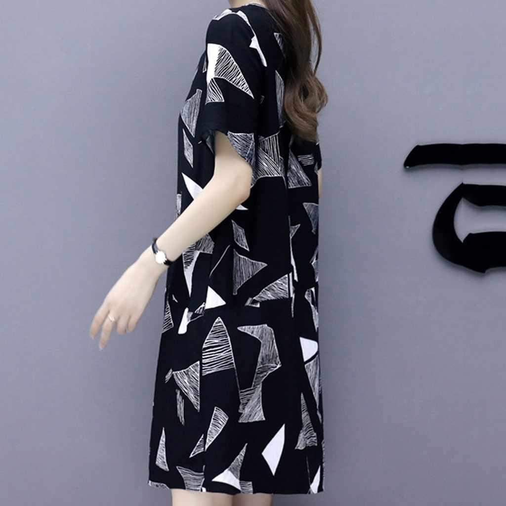 שמלת נשים קיץ חולצה נשים של בציר הדפסה משובצת קצר שרוול הברך מזדמן שמלת כותנה