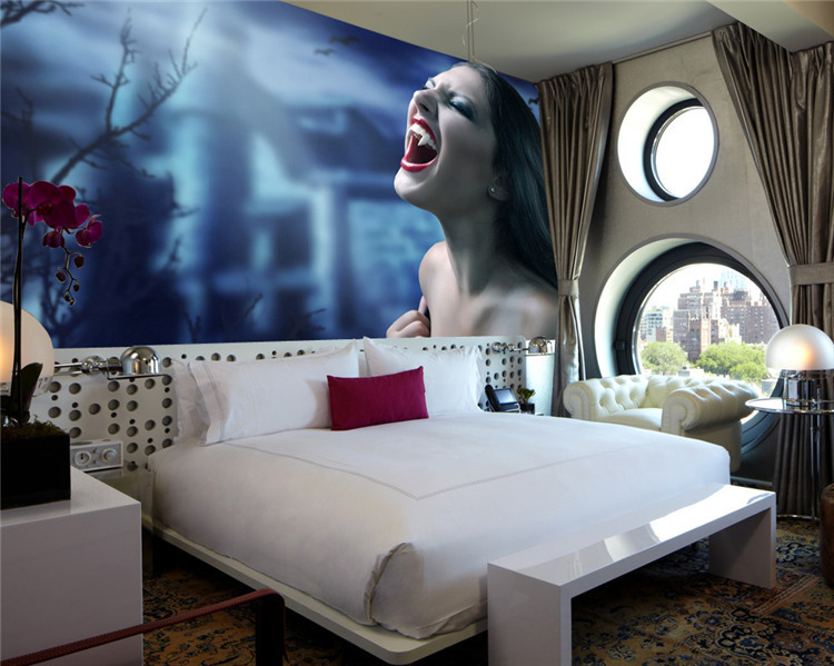 Horror Photo Wallpaper Darkness Vampire Wall Mural Custom Waterproof  Wallpaper Room Decor Painting Halloween Decoration Hallway In Wallpapers  From Home ...