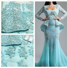 2019 Evening Dresses beautiful blue decals beaded lace long sleeve sexy mermaid round collar woman robe de soiree evening dress