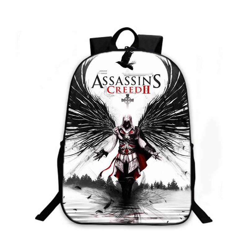 2017 New Arrivals Oxford 16 Inches Printing Assassins Creed Black Girls School Bags for Kids Backpack for Boys Bookbag Women Bag assassins creed cosplay backpack men school bags official assassins creed syndicate logo school backpacks bag rucksack