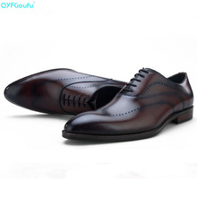 Brand 100% Genuine Leather Carved Mens Italian Dress Shoes High Quality Handmade Luxury Designers Wedding Shoes Oxford цена